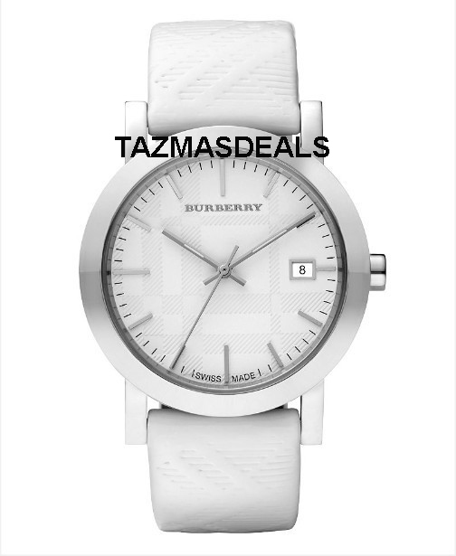 BU1796 New Women's BURBERRY White Patent Leather Watch