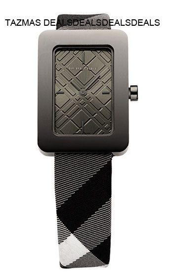 Burberry Women's BU1158 Check Engraved Check Watch NEW