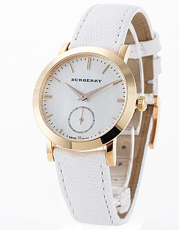 AUTHENTIC BURBERRY WHITE LEATHER WATCH BU1734
