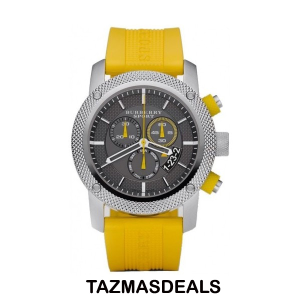 100% NEW Burberry sport YELLOW Rubber WATCH BU7712