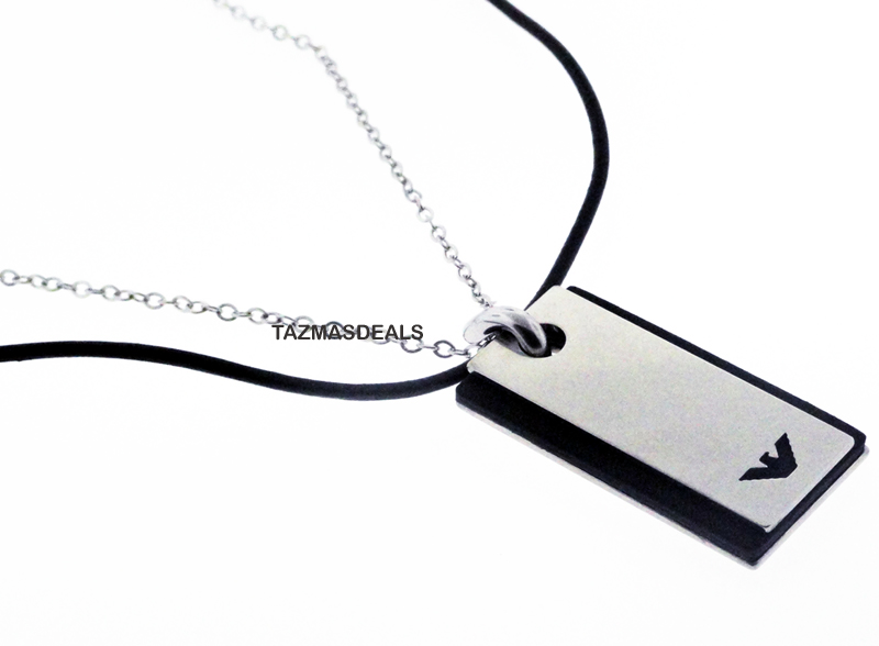 2011 EMPORIO ARMANI LEATHER STEEL DOUBLE NECKLACE