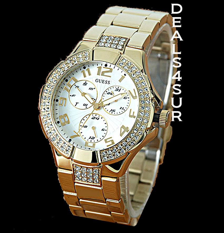 AUTHENTIC GUESS WATCH WOMEN GOLD  SWAROVSKI  G13537L COLLECTION