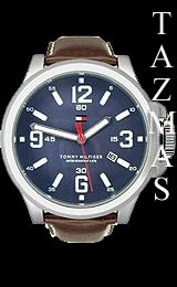 100% AUTHENTIC Tommy Hilfiger Brown Leather Men Watch 1790628
