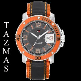 100% AUTHENTIC Tommy Hilfiger Orange/Black Men Watch 1790646