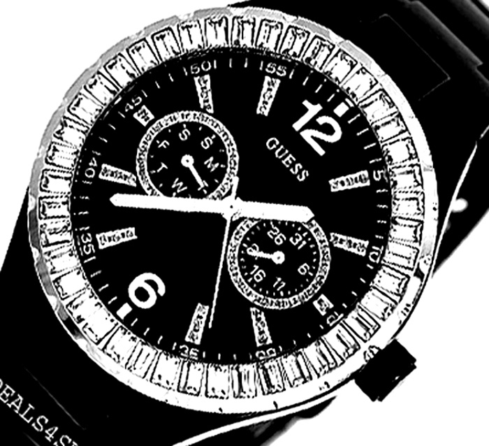 NEW  GUESS CRYSTAL ACCENTENTED BLACK G13553L