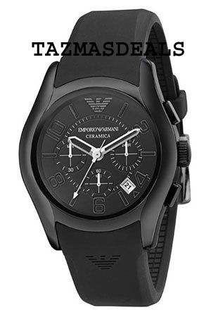 AR1430 WATCH New EMPORIO Armani mens Black Ceramic case black