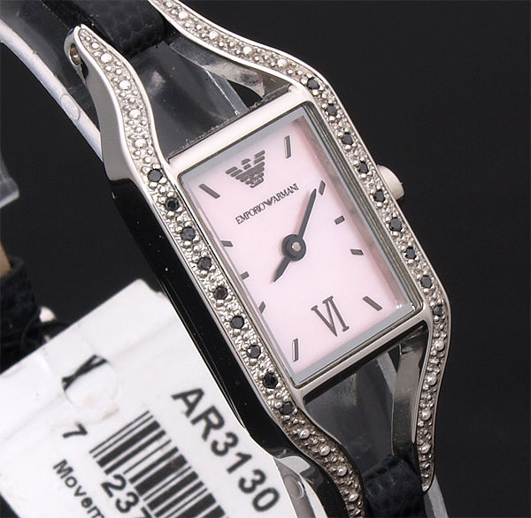 100% AUTHENTIC EMPORIO ARMANI 18 BLACK DIAMOND WATCH AR3130