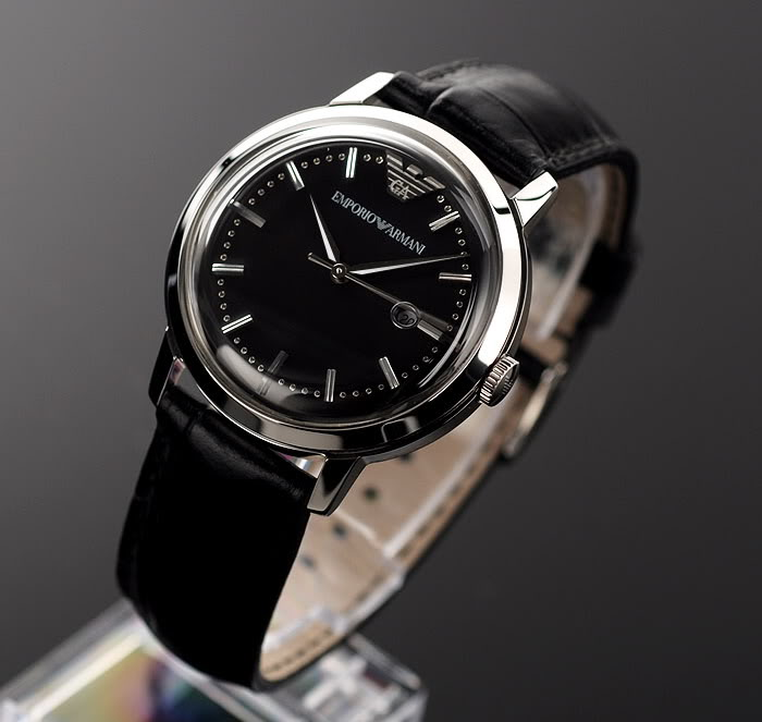 100% AUTHENTIC EMPORIO ARMANI BLACK LEATHER WATCH AR5728