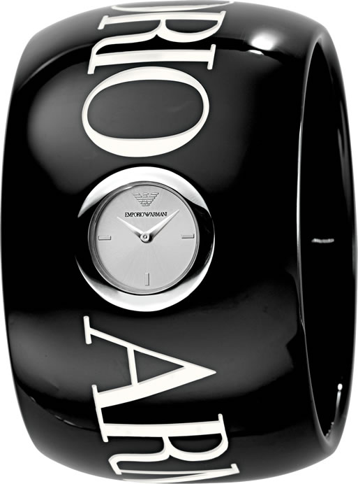 100% Authentic  EMPORIO ARMANI LADIES BLACK ACRYLIC WATCH AR5749