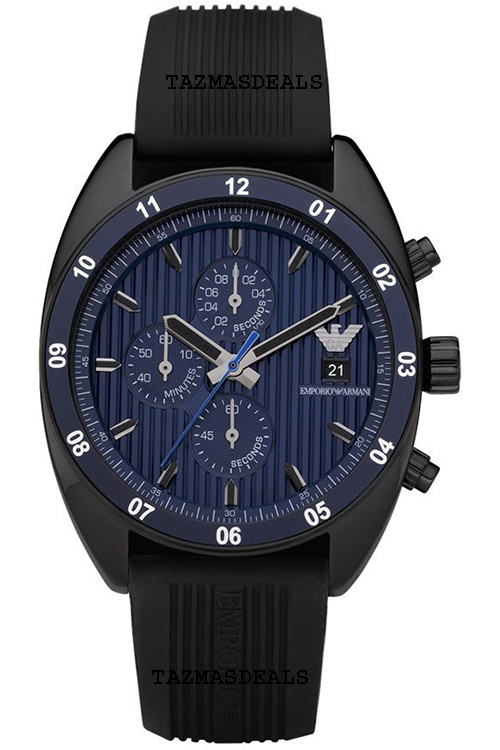 NEW EMPORIO ARMANI SPORTIVO MENS WATCH AR5930 ALL BLACK RUBBER B