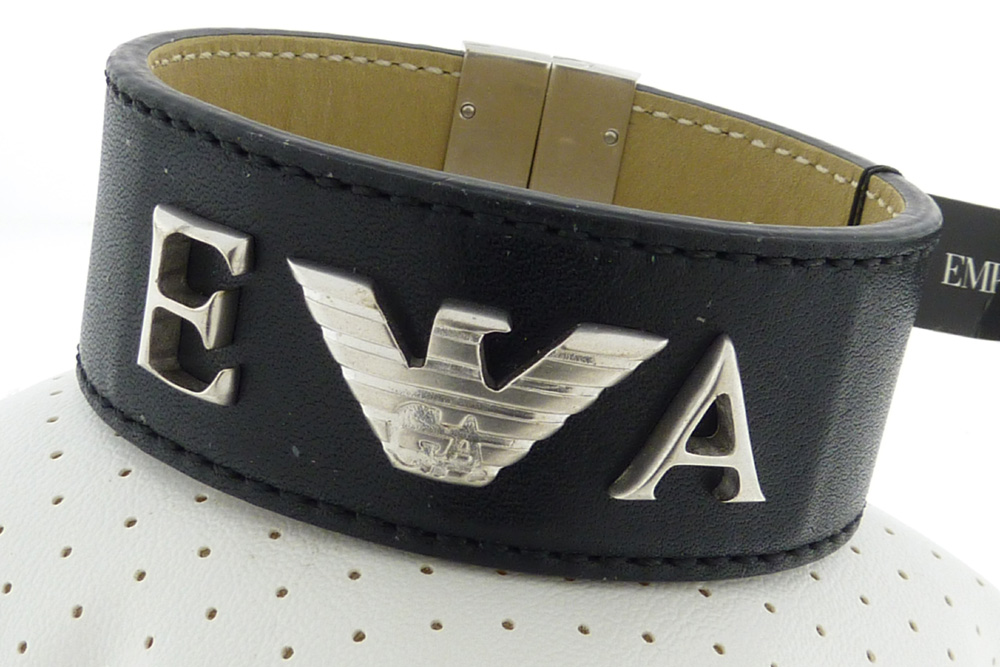 EMPORIO ARMANI BRACELET LEATHER SILVER 2010 COLLECTION EG2401