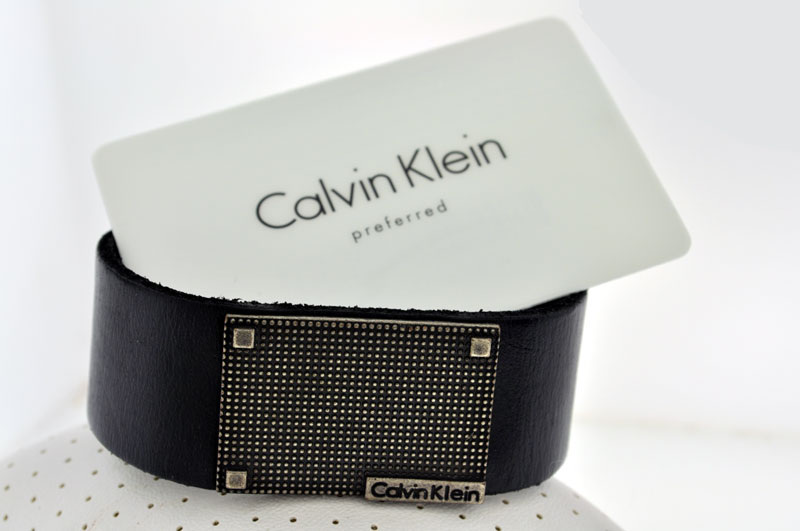 CALVIN KLEIN BLACK LEATHER BRACELET FOR MEN