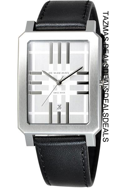 BURBERRY BLACK LEATHER HERITAGE GENTS WATCH BU1905 NEW
