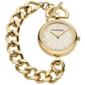 AUTHENTIC BURBERRY WOMENS GOLD TONE CHAINE WATCH BU5305