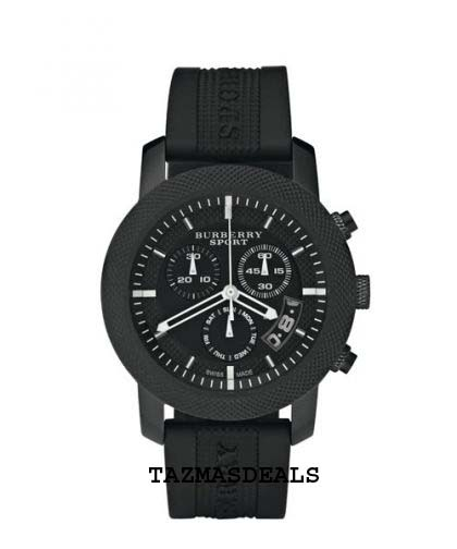 NEW BURBERRY SILICONE BLACK ION PLATED CHRONOGRAPH LADIES WATCH