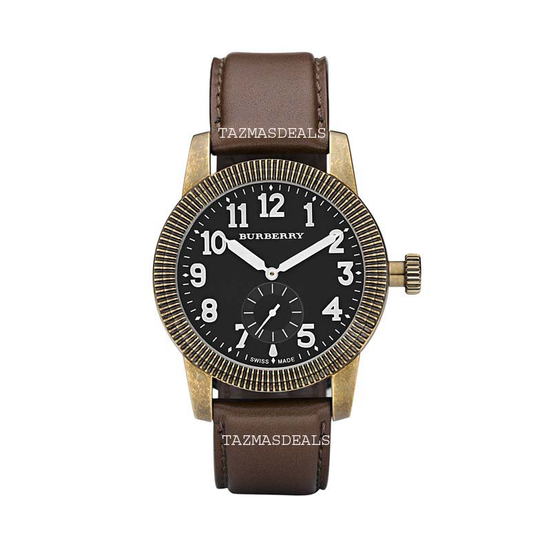 BU7831 Burberry Military Round Black Dial Brown Strap Vintage