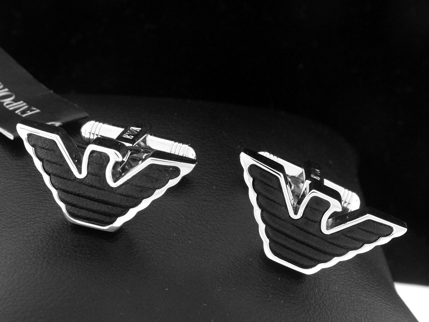 EMPORIO ARMANI SILVER LEATHER EAGLE LOGO CUFFLINK 2010