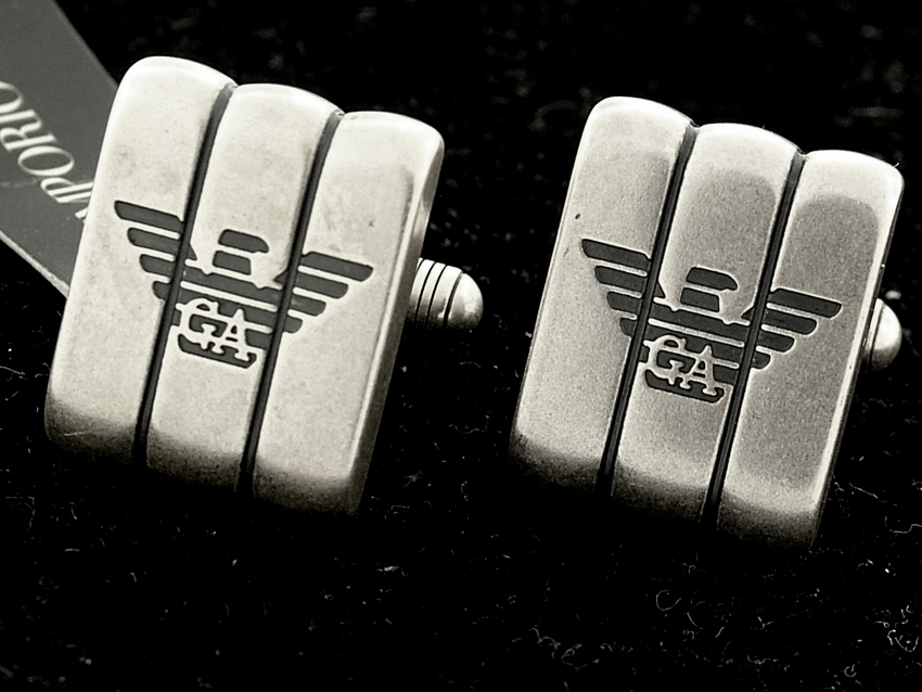 NEW EMPORIO ARMANI SILVER CUFFLINK CUFF LINKS 2010 COLLECTION