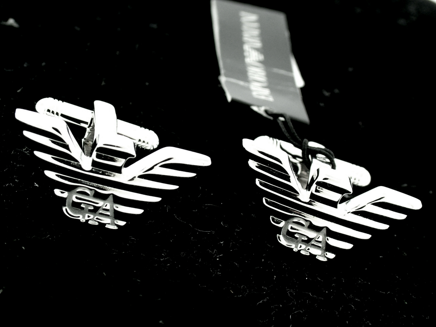 NEW EMPORIO ARMANI SILVER CUFFLINKS  CUFF LINKS 2010 COLLECTION