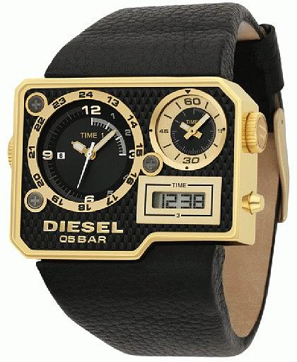 DIESEL WATCH BLACK LEATHER FOR MEN   DZ7102