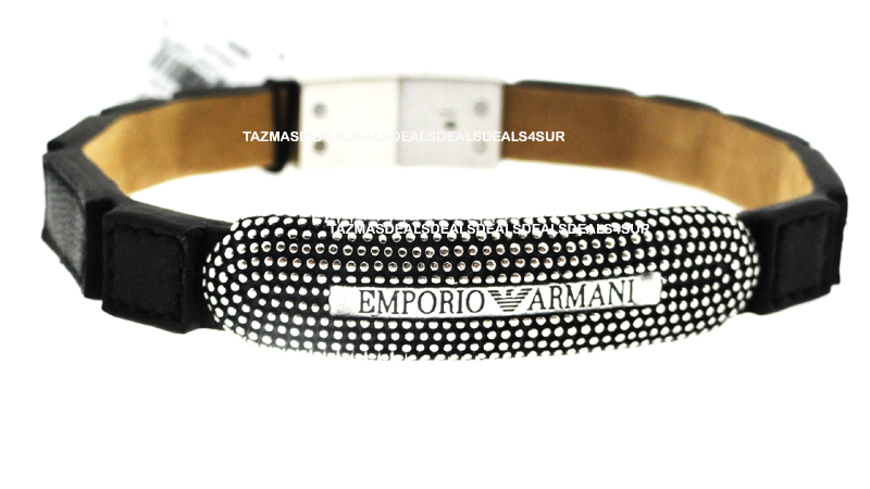 NEW EMPORIO ARMANI Silver Leather BRACELET 2011 EG2815