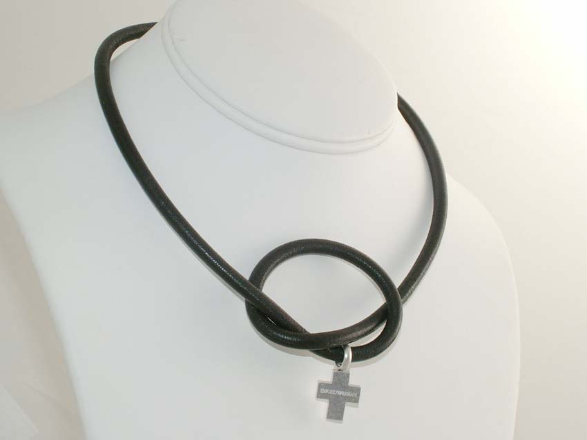 EMPORIO ARMANI MEN LEATHER CROSS NECKLACE  925 STERLING SILVER
