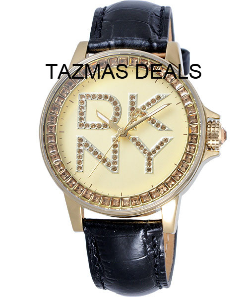 DKNY WOMEN'S Black Leather Strap WATCH NY4789 NEW