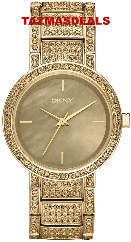 100% NEW DKNY Gold Crystal Ladies Watch Bracelet NY8055