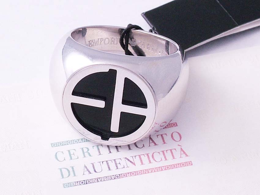 NEW Emporio Armani MEN SILVER 925 RING COLL SZ 10