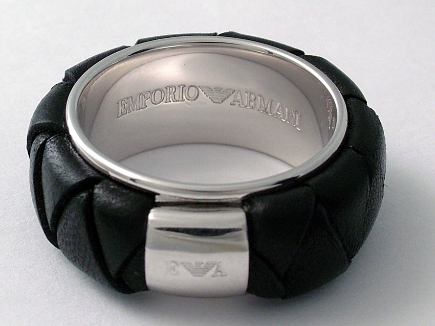 EMPORIO ARMANI EG1477 RING 925 SILVER LEATHER Size 6.5