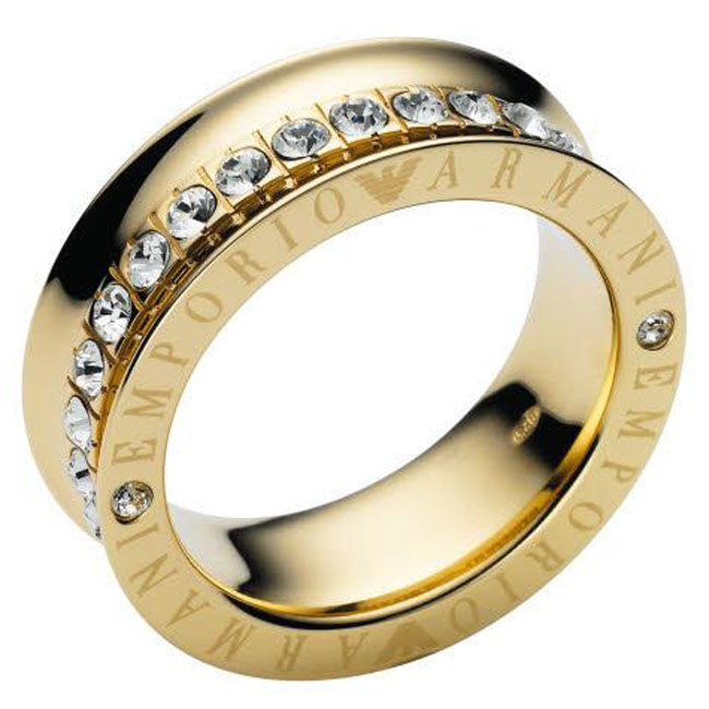 EMPORIO ARMANI EG2310 CRYSTAL GOLD RING Size 6.5